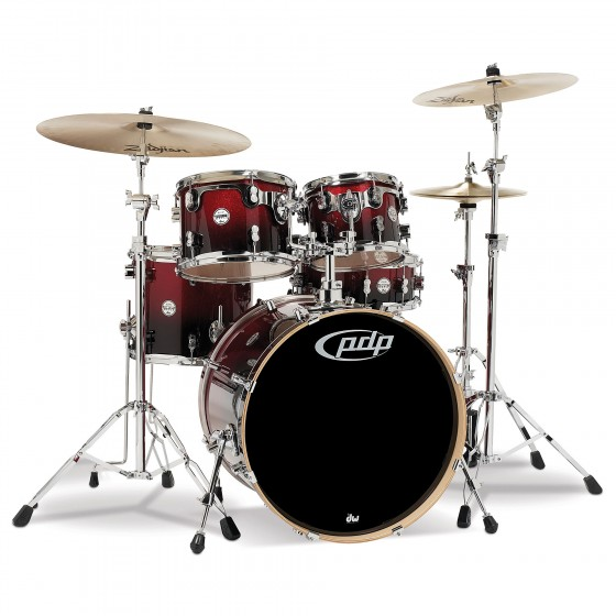 PDP Concept Maple CM5 Studio Red to Black Sparkle Fade