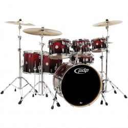 PDP by DW Concept Maple CM7 Red to Black Sparkle