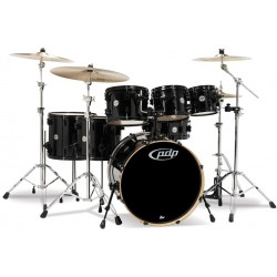 PDP Concept Maple CM7 Pearlescent Black con herrajes